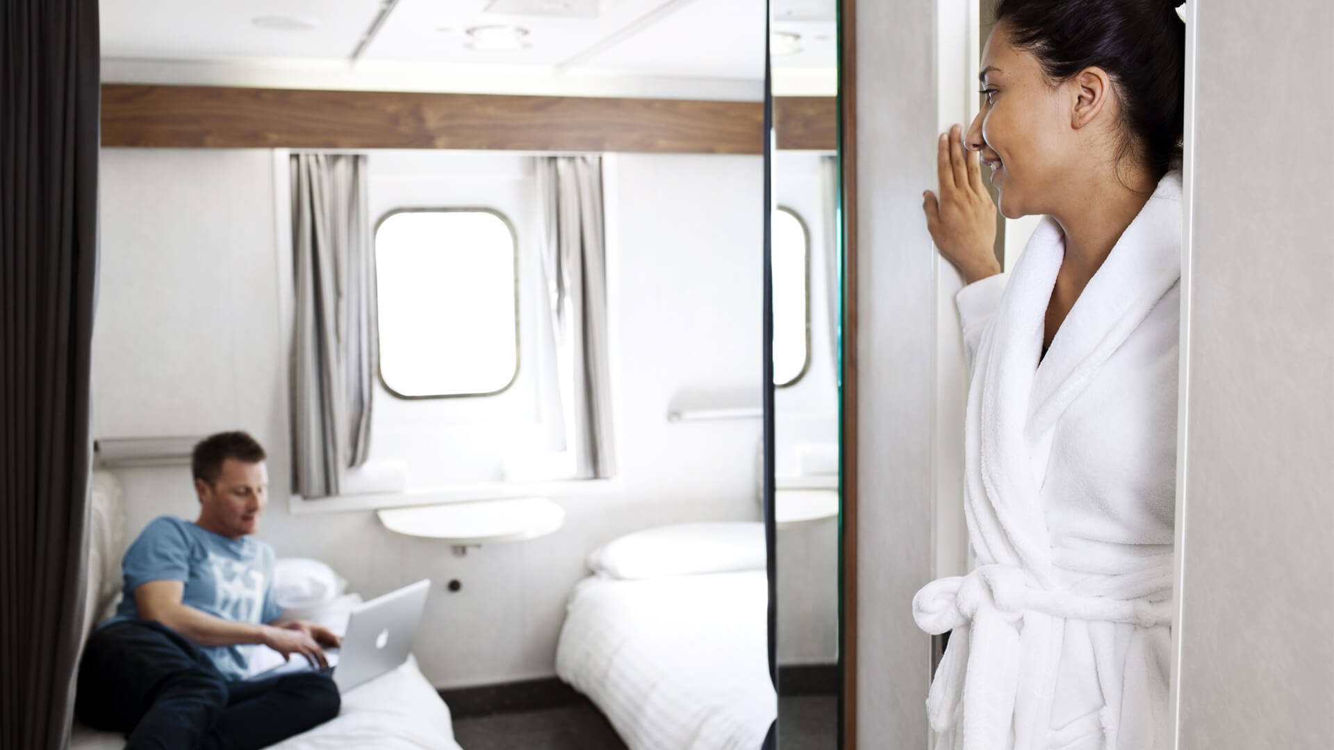 Enjoy the cabins private ensuites on board.